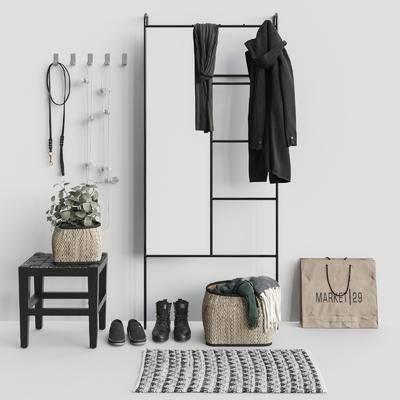 衣帽架, 衣服鞋子, 围巾地毯, 镜子盆栽, 椅子组合, 现代