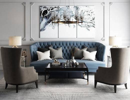 落地灯, 休闲沙发, 灰色地毯, 装饰画, 抱枕, 简欧