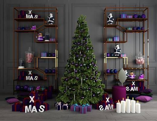 圣诞树, 绿植植物, 圣诞陈列, 圣诞蜡烛, 圣诞摆件, 圣诞老人, 摆件, 装饰品, 陈设品, 装饰架, 现代