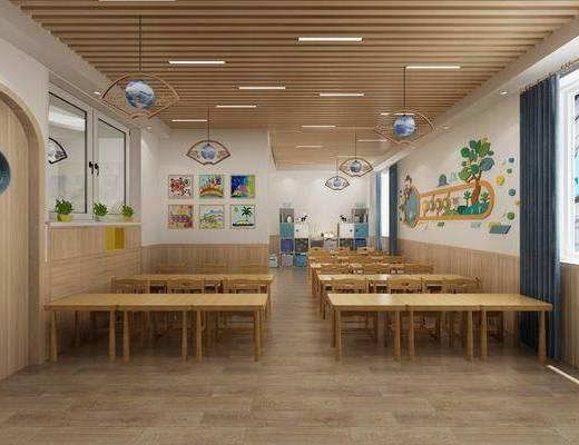 学校, 幼儿园, 桌椅组合, 现代教室