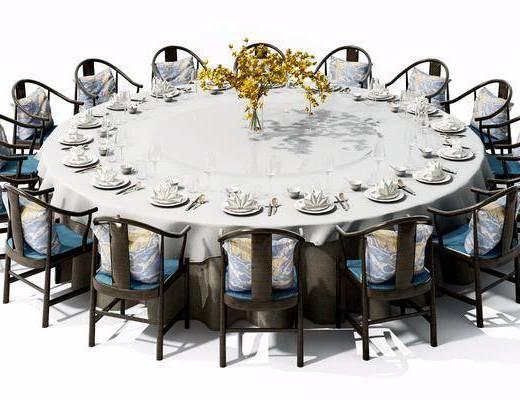 多人餐桌, 餐椅, 中式