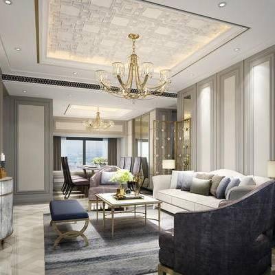 欧式客厅, 客厅, 欧式, 沙发组合, 欧式吊灯, 欧式屏风