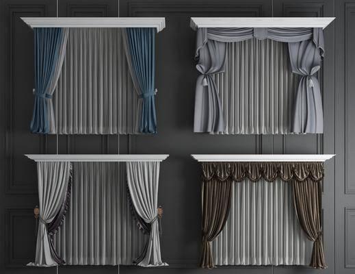布艺窗帘, 窗纱组合, 欧式