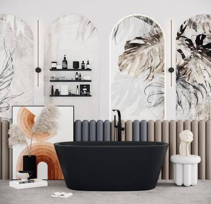 现代轻奢浴缸, 装饰画, 摆件