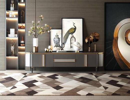电视柜组合, 边柜组合, 挂画组合, 摆件组合, 装饰柜, 现代