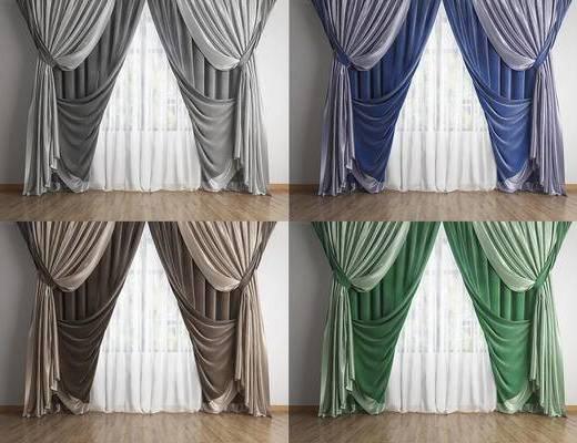 美式, 窗帘, 组合