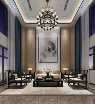 新中式客厅, 新中式餐厅, 客餐厅, 沙发组合, 沙发茶几组合, 餐桌椅, 桌椅组合
