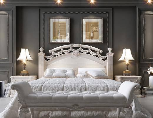 简欧卧室双人床, 简欧, 床, 床头柜, 台灯, 脚踏