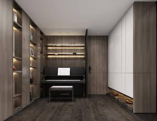 钢琴房, 凳子, 装饰柜, 摆件, 装饰品, 陈设品, 现代