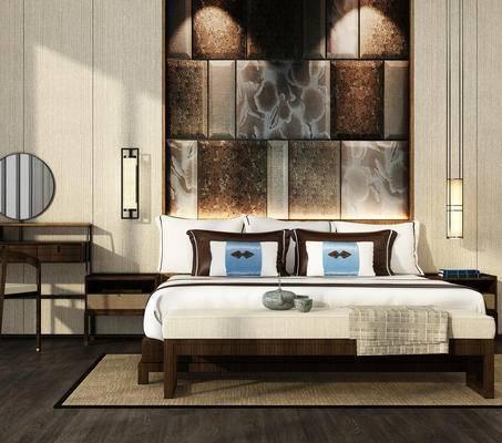 中式, 床具, 吊灯, 床尾凳, 桌子, 新中式
