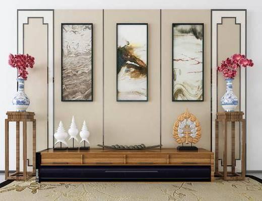电视柜, 装饰柜, 边柜, 装饰架, 花瓶, 花卉, 装饰画, 挂画, 摆件, 装饰品, 陈设品, 新中式