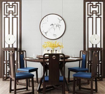 桌椅组合, 餐桌, 餐椅, 单人椅, 餐具, 圆框画, 圆桌, 新中式