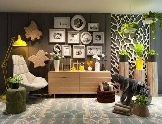 边柜, 装饰柜, 装饰画, 挂画, 照片墙, 盆栽, 单人椅, 落地灯, 墙饰, 摆件, 装饰品, 陈设品, 休闲椅, 北欧