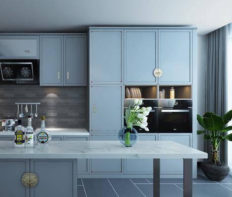 厨房, 橱柜, 单人椅, 洗手台, 装饰柜, 摆件, 装饰品, 陈设品, 盆栽, 新中式