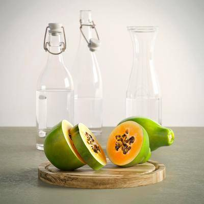 瓶子水果, 酒瓶, 酒杯, 摆件, 现代