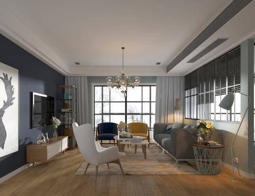 客厅, 沙发, 单椅, 多人沙发, 休闲椅, 吊灯, 挂画, 装饰画, 落地灯, 电视柜, 摆件, 装饰品, 茶几, 边几, 植物, 盆栽, 地毯, 北欧