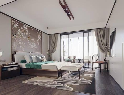 雙人床, 背景墻, 單椅, 床具組合