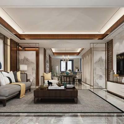 中式, 中式客厅, 中式沙发组合, 中式电视柜, 中式屏风, 餐桌椅, 餐厅, 装饰画