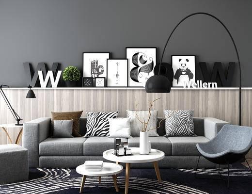 北欧现代沙发茶几组合, 圆形茶几, 北欧装饰品, 落地灯, 椅子, 装饰画