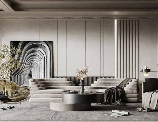 现代, 客厅, 异形沙发, 休闲椅, 边几, 盆栽, 装饰画