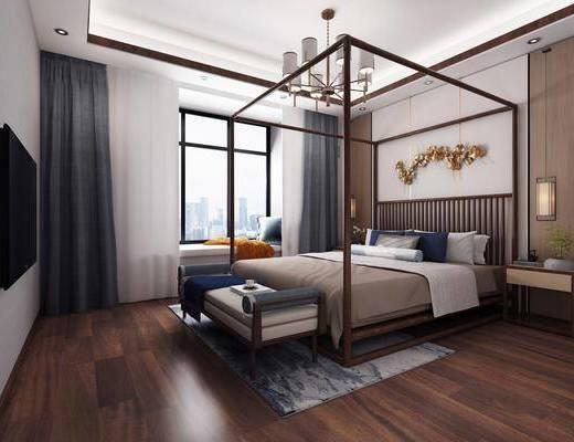 卧室, 新中式卧室, 床具组合, 摆件组合, 墙饰