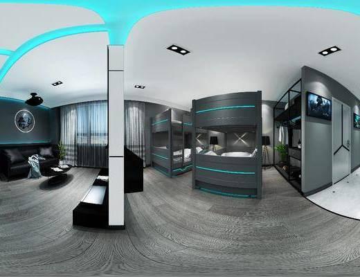 电竞酒店, 上下床, 落地灯, 装饰架, 装饰柜, 单人椅, 电脑, 双人沙发, 多人沙发, 茶几, 墙饰, 摆件, 装饰品, 陈设品, 现代