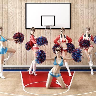 人偶, 模特, 篮球, 啦啦队, 女人, 现代人偶