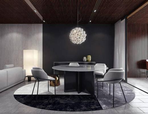 餐厅, 餐桌, 圆桌, 单椅, 椅子, 吊灯, 摆件, 地毯, 现代