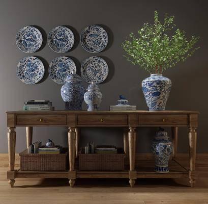 端景台, 陶瓷器皿, 墙饰, 摆件, 装饰品, 陈设品, 绿植植物, 中式