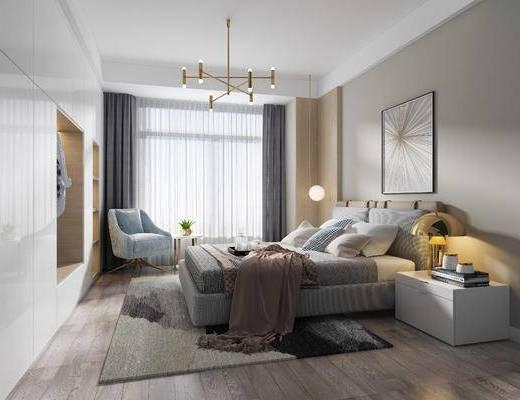 床头柜, 吊灯, 双人床, 装饰画, 单椅