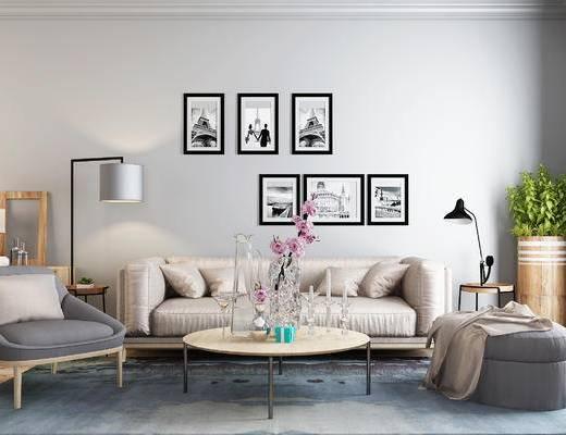 沙发, 沙发组合, 茶几, 北欧沙发, 北欧