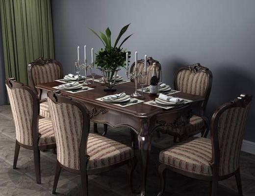 美式餐桌, 餐桌, 餐桌椅, 桌椅组合