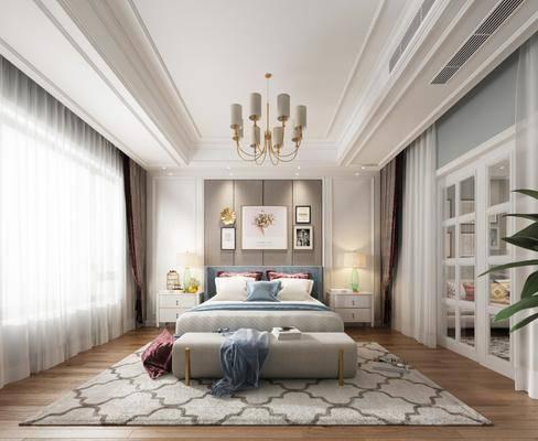 卧室, 双人床, 床头柜, 休闲区, 床尾凳, 台灯, 吊灯, 装饰画, 挂画, 墙饰, 多人沙发, 照片墙, 凳子, 茶几, 橱柜, 厨具, 摆件, 装饰品, 陈设品, 美式