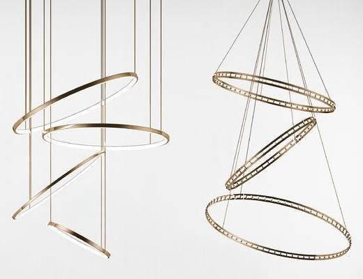 现代圆形金属吊灯, 奢华吊灯