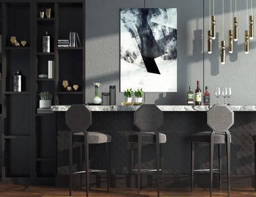 现代, 吧台, 吧椅, 吊灯, 挂画, 书柜, 装饰柜, 置物柜, 摆件, 餐具, 盆栽