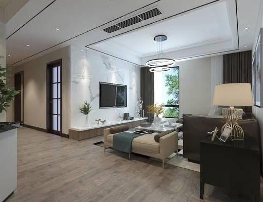 现代客厅, 客厅, 现代客餐厅