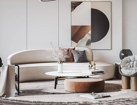 沙发组合, 装饰画, 茶几, 花瓶, 吊灯, 单椅, 地毯