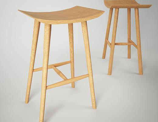 北欧简约, 实木椅子, 吧椅, 北欧椅