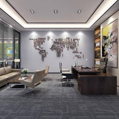 办公桌, 单人椅, 办公椅, 墙饰, 多人沙发, 单人沙发, 茶几, 装饰柜, 摆件, 装饰画, 挂画, 休闲椅, 绿植, 植物, 现代