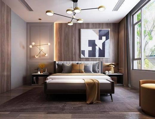 臥室, 床具組合, 邊柜組合, 裝飾柜, 吊燈, 擺件組合, 現代