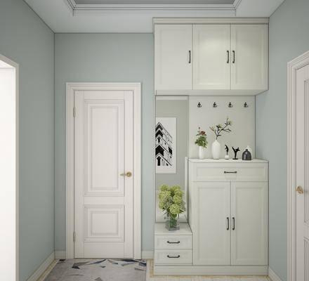 鞋柜, 玄关柜, 现代玄关鞋柜, 植物, 盆栽, 摆件, 现代