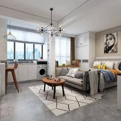 公寓, 卧室, 双人沙发, 吊灯, 装饰画, 电视柜, 地毯, 洗衣机, 现代, 北欧