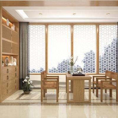 茶室, 茶具, 新中式, 中式, 椅子, 桌子, 茶桌, 单椅, 置物柜, 装饰柜, 陈设品, 摆件, 摆设, 墙饰