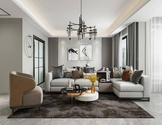 多人沙發, 掛畫, 窗簾布, 墻飾, 吊燈, 單椅