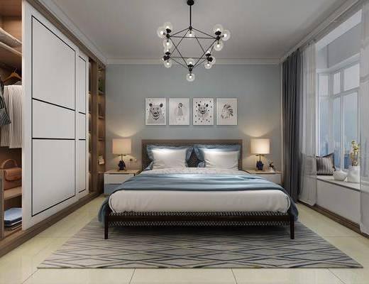 卧室, 双人床, ?#39184;?#26588;, 台灯, 装饰画, 组合画, 吊灯, 衣柜, 服饰, 北欧