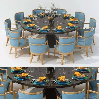 桌子组合, 餐桌, 单人椅, 餐具, 简欧