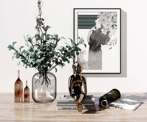 现代, 花瓶, 装饰, 摆件