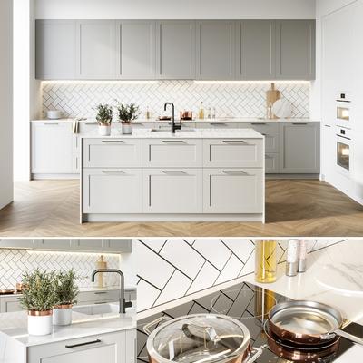 北欧厨房模型组合, 北欧, 厨房, 橱柜, 洗手盆, 植物, 厨具