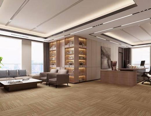 办公室, 现代总经理办公室3d模型, 沙发组合, 办公桌, 办公椅, 书柜, 摆件组合