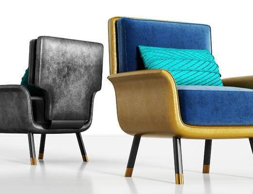 现代, 休闲, 单人沙发, 皮革
